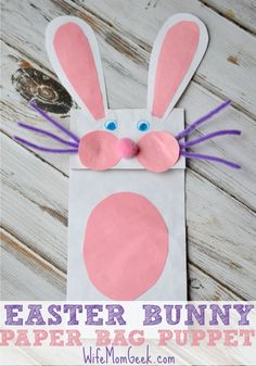 This paper bag puppet is the perfect Easter craft to do with little ones. It'll make for hours of fun play! Easter #easter Easter Ideas Easter crafts, easter recipes