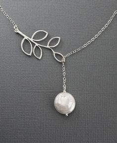 """Silver Necklace, """"Garden Moon II"""", Branch and  Coin Pearl Necklace, STERLING SILVER Jewelry, bridal jewelry,  anniversary. $29.50, via Etsy."""