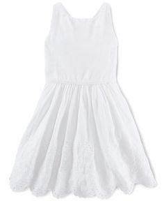 e799011b8c Ralph Lauren Little Girls  Eyelet-Border Dress   Reviews - Dresses - Kids -  Macy s