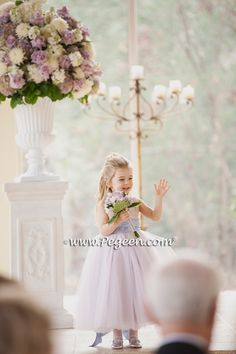Couture Tulle Flower Girl Dress in Wisteria and Lavender | Pegeen Wedding of the Year in Lavender