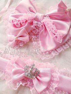 Pink hair bows.