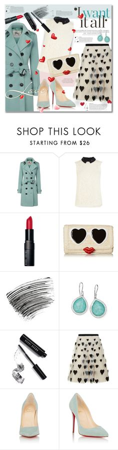"""""""Hearts And Kisses"""" by petri5 ❤ liked on Polyvore featuring Burberry, Karen Millen, Bobbi Brown Cosmetics, Kate Spade, Ippolita, Alice + Olivia, Christian Louboutin, women's clothing, women's fashion and women"""