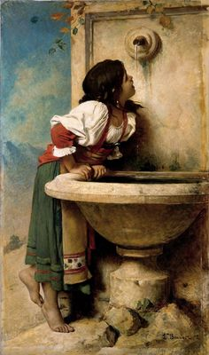"""Thanks to Alana Coons for this - 1875 oil painting by Leon Bonnat, """"Roman Girl at a Fountain"""", New York's Metropolitan Museum of Art - likely inspired the 1924 signed Mexican tile on the Sunset Blvd Spanish Revival home. Art Amour, Ouvrages D'art, Fine Art, Beautiful Paintings, Classic Paintings, European Paintings, Art Paintings, Metropolitan Museum, Art Reproductions"""
