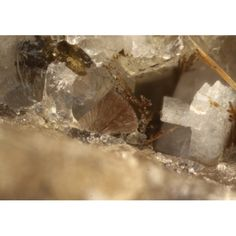 Cappelinite-(Y), Ba(Y,Ce)6Si3B6O24F 2,  Mont Saint Hilaire, Québec, Canada. Brownish spray of acicular crystals