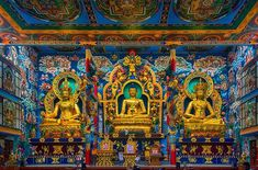 The three captivating #golden statues of #Buddha #Padmasambhava and #Amitayus.  Each statue is about the height of 40 feet. Every part of the temple depicts beautiful designs. Its walls have been decorated with intricate paintings. These colourful paintings illustrate stories of God and demons from #Tibetan #Buddhist #mythology.  The #Bylakuppe Buddhist Golden Temple also called #Namdroling Monastery emanates #peacefulness amid the noisy streets and crowd of tourists. It is said to be the…