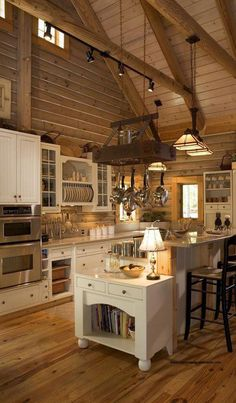 Log Homes and Cabins. View photos of gorgeous log home interiors as a source of design inspiration. Log home kitchens, bedrooms and great rooms. Farmhouse Interior, Farmhouse Kitchen Decor, Home Decor Kitchen, New Kitchen, Kitchen Ideas, Kitchen Wood, Smart Kitchen, Kitchen Cart, Rustic Farmhouse
