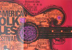 American Folk Blues Festival, Original Vintage, 1964  German Concert Poster, Rare Variant By Gunther Kieser