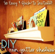 i should be mopping the floor: Rain Gutter Bookshelves