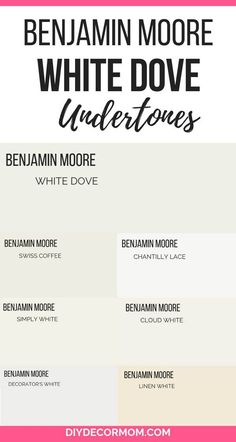 See Benjamin Moore White Dove undertones and paint swatches compared. See BM Whi - See Benjamin Moore White Dove undertones and paint swatches compared. See BM Whi - Neutral Paint Colors, Paint Color Schemes, Best Paint Colors, Wall Paint Colors, Paint Colors For Home, Paint Themes, Best White Paint, White Paints, White Dove Benjamin Moore Walls