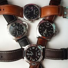 A nice quartet of #Panerai watches from @ibrid2. Which one is your favorite? PAM183, PAM320, PAM000, PAM250 #PaneraiCentral