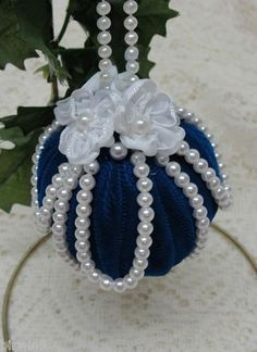 Handmade Christmas ornament. Flag blue velvet, shiny white pearls. Satin ribbon flowers. Follow the link to see more pictures.: