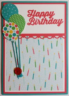 Birthday Card - using Stampin' Up! products including Cherry on Top PP and Perfect Pairings Stamp Set