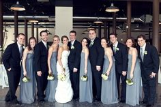 love a gray and black bridal party
