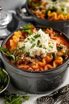 Our creamy lasagna soup is made with Italian sausage for the best spicy flavor. Or add turkey or chicken with mushroom! Feel free to make this recipe in the Crockpot or Instapot, too! #spendwithpennies #lasagnasoup #entree #recipe #cheesy #savory #crockpot #easy #onepot #best Easy Homemade Lasagna, Easy Homemade Soups, Homemade Bolognese, Bolognese Sauce, All You Need Is, Italian Sausage Pasta, Sausage Soup, Lasagna Soup, Kitchens