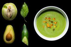 A cold soup for hot days. Melon cucumber basis soup