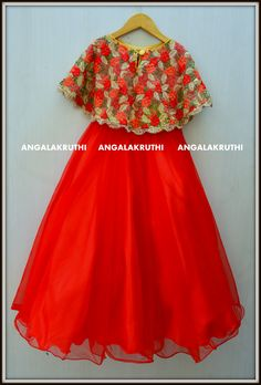 #Kids_custom_designs by Angalakruthi  # Kids frock with red colour cape   watsapp:8884346333