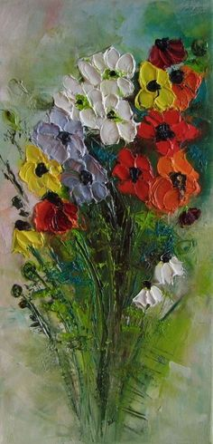 Anemones Colorful Flowers Impression IMPASTO Original Oil Painting Europe Artist #ImpressionismImpasto