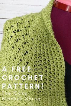 Cozy Blanket Shrug · I Need It Crochet Designs Crochet Shawls And Wraps, Crochet Scarves, Crochet Clothes, Crochet Sweaters, Crochet Shrug Pattern Free, Crochet Bedspread Pattern, Crochet Patterns, Sewing Patterns, Easy Crochet