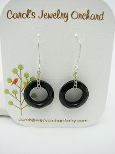 Jet Swarovski Earrings Cosmic Ring and by CarolsJewelryOrchard, $18.00