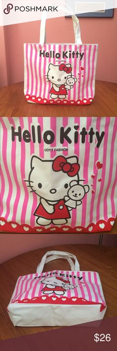 """🆕 NWOT Hello Kitty Tote Canvas tote. Perfect for the beach, travel, groceries, and much more. Hello Kitty image on front of bag only. One interior pocket. Top zipper closure. Primary colors are pink, red, white, and black. Approximately 13"""" H x 13"""" L. Measured without straps. Please ask if you have questions. Cute. Summer. Bags Totes"""