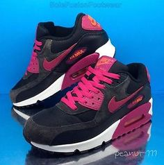official photos 4cbd7 55271 Nike Air Max 90 womens Running Trainers Black Pink sz 5 Sneakers US EU
