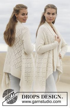 """Free Pattern Knitted DROPS jacket with lace pattern in """"Alpaca"""" and """"Kid-Silk""""."""