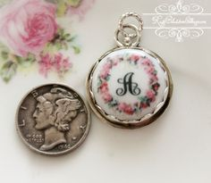 Roses Wreath Initial Charm Porcelain Sterling, one of our BESTSELLERS, www.RoseBlossomCottage.com