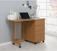 Buy HOME Dino 2 Drawer Space Saving Office Desk - Oak Effect at Argos.co.uk - Your Online Shop for Desks and workstations, Office furniture, Home and garden.