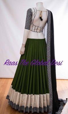 A-Line Wedding Dresses Collections Overview 36 Gorgeou… Half Saree Designs, Saree Blouse Neck Designs, Choli Designs, Lehenga Saree Design, Half Saree Lehenga, Indian Dresses, Indian Outfits, Indian Clothes, Lehnga Dress