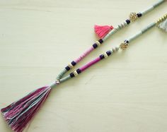 Tassel Necklace Long beaded necklace Agate por AllGirlsneed
