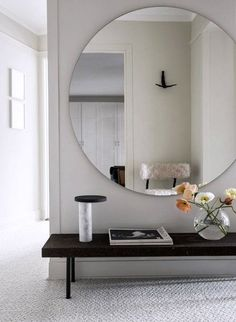 Home entrance decor beautiful round living room mirrors for best home entrance decor ideas on home . home entrance decor Modern Entry, Modern Hallway, Home Design, Hall Mirrors, Black Bench, Style Deco, Grand Entrance, Entrance Decor, Entrance Halls