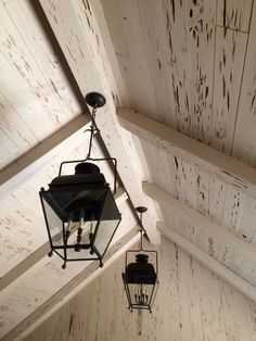 lanterns w/ pecky cypress ceiling Office Ceiling, Floor Ceiling, Cypress Wood, Resin Furniture, Shabby Chic, Hardwood Floors, Flooring, Ceiling Treatments, Ceiling Detail