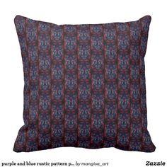 purple and blue rustic pattern pillow Floral Pillows, Decorative Throw Pillows, Compact Mirror, Custom Art, Party Supplies, Purple, Blue, Canvas Art, Cushions