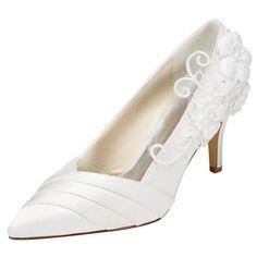 Women's Satin Stiletto Heel Pumps With Flower