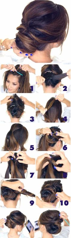 Best Hairstyles for Brides - 5 Minute Elegant Chignon- Amazing Hair Styles and Looks for Half Up Medium Styles, Updo With Long Hair, Short Curls, Vintage Looks with Veil, Headpieces, or With Tiara - Wedding Looks for Girls With Round Faces - Awesome Simple Bridal Style With Headband or Elegant Braided Up Dos - thegoddess.com/hairstyles-for-brides
