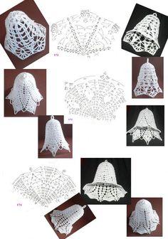 172 - 173 - 174 Crochet Ball, Crochet Chart, Thread Crochet, Crochet Doilies, Crochet Flowers, Crochet Christmas Ornaments, Crochet Snowflakes, Christmas Bells, Christmas Crafts