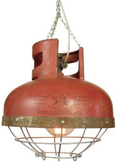 Industrial factory lamp with cage. Made from gas cylinder Industrial factory lamp with cage. Made from gas cylinder Industrial Design Furniture, Industrial Interiors, Industrial House, Industrial Lighting, Industrial Chic, French Industrial, Furniture Design, Luminaire Original, Deco Design