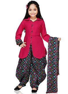 Looking for cute Salwar Suits for your little girl? Check out the delightful kids' suits collection incl. ethnic suits, salwar kameez for kids, Punjabi salwar suits for baby girls & more online on Utsav Fashion. Baby Girl Dress Patterns, Dresses Kids Girl, Kids Salwar Kameez, Baby Girl Dress Design, Kids Ethnic Wear, Kids Blouse Designs, Baby Frocks Designs, Kids Lehenga, Kids Gown
