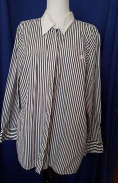 Chaps Womens Plus Button Down Shirt Striped Navy Career Work  2X #Chaps #ButtonDownShirt #Career