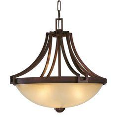 Metropolitan N6952 3 Light Bowl Shaped Pendant from the Underscore Collection Cimarron Bronze Indoor Lighting Pendants