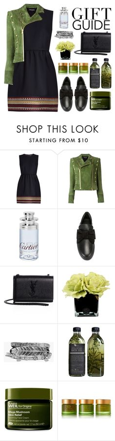 """""""Green Gift """" by sellyankumala ❤ liked on Polyvore featuring RED Valentino, Balmain, Cartier, BUSCEMI, Yves Saint Laurent, Hervé Gambs, Boohoo, AMBRE, Origins and Tata Harper"""