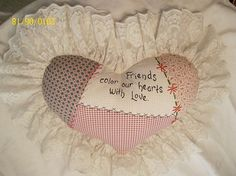 Embroidered HEART PILLOW versed in Dark RED Gingham and by JleCROW, $47.00