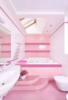 Brilliant Pink Bathroom Design Decor Ideas - napier news Dream Bathrooms, Dream Rooms, Dream Bedroom, Girl Bedroom Designs, Bathroom Designs, Pink Houses, Dream Houses, Bathroom Colors, Colorful Bathroom