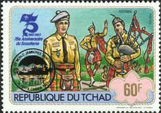 One of a colorful series of Boy Scout stamps. Notice that there are three pipers shown.
