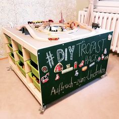 DIY game table - Ikea Hack - Rethinking to rethink - Ikea DIY - The best IKEA hacks all in one place Camping Car Playmobil, Lego Poster, Trofast Ikea, Kids Toy Boxes, Ikea Kids Room, Diy Games, Toy Rooms, Hacks Diy, Diy Hack