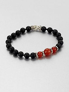 Scott Kay Black Onyx, Red Onyx and Sterling Silver Bracelet | www.goldcasters.com