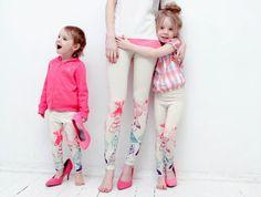 Neon color-block bugg print  leggings for children