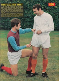 Circa West Ham United and Tottenham Hotspur inside forwards Geoff Hurst and Jimmy Greaves attempt some sports promotion sixties style. Geoff Hurst, Jimmy Greaves, London Football, Sixties Fashion, West Ham, Tottenham Hotspur, 1960s, Promotion, Legends