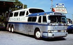 The GM Scenicruiser, manufactured exclusively for The Greyhound Corporat. - Travel Around The World By Bus - Transport Road Train, Train Car, School Bus House, Bus City, Automobile, Travel Sights, Bus Terminal, Corgi Toys, Bus Coach