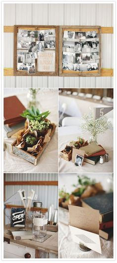 centerpieces with books and pictures